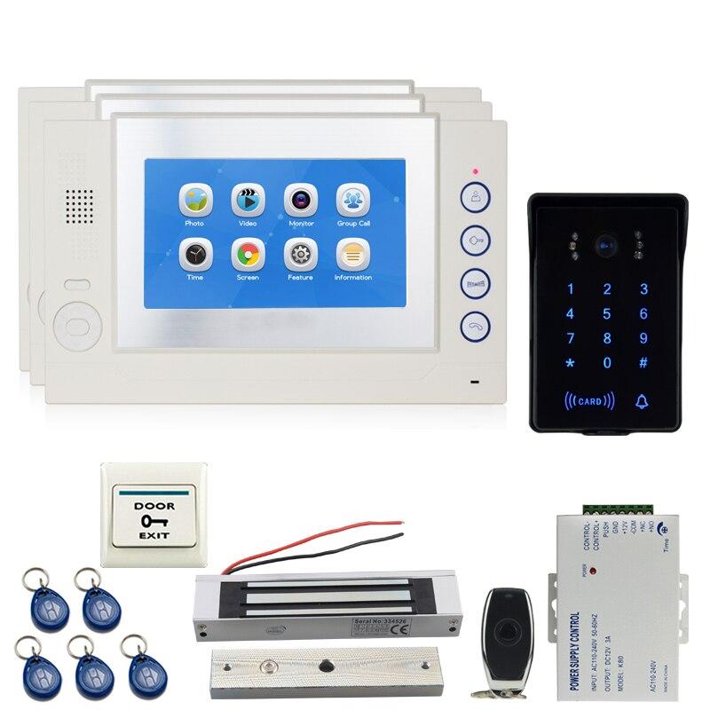 JEX 7`` TFT Video Door Phone Doorbell Intercom System Kit 3 Voice/Video Record Monitor +700TVL Waterproof Password Camera 1V3
