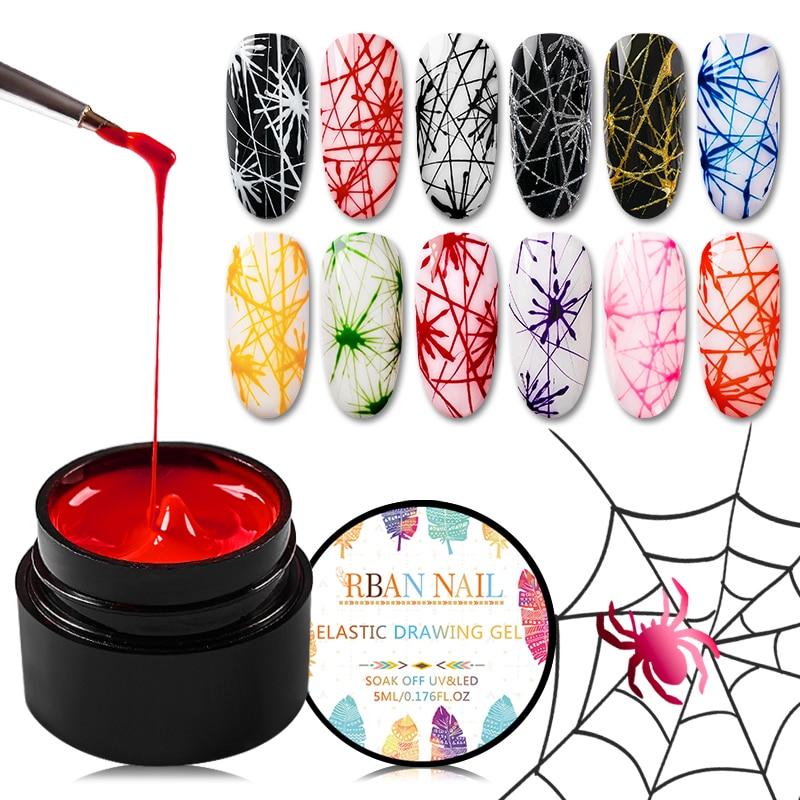 RBAN NAIL 5ml Spider Gel Polish Elastic Drawing UV Gel Manicure Soak Off UV Gel Varnish Nail Art Pulling Silk Gel Lacquer DIY