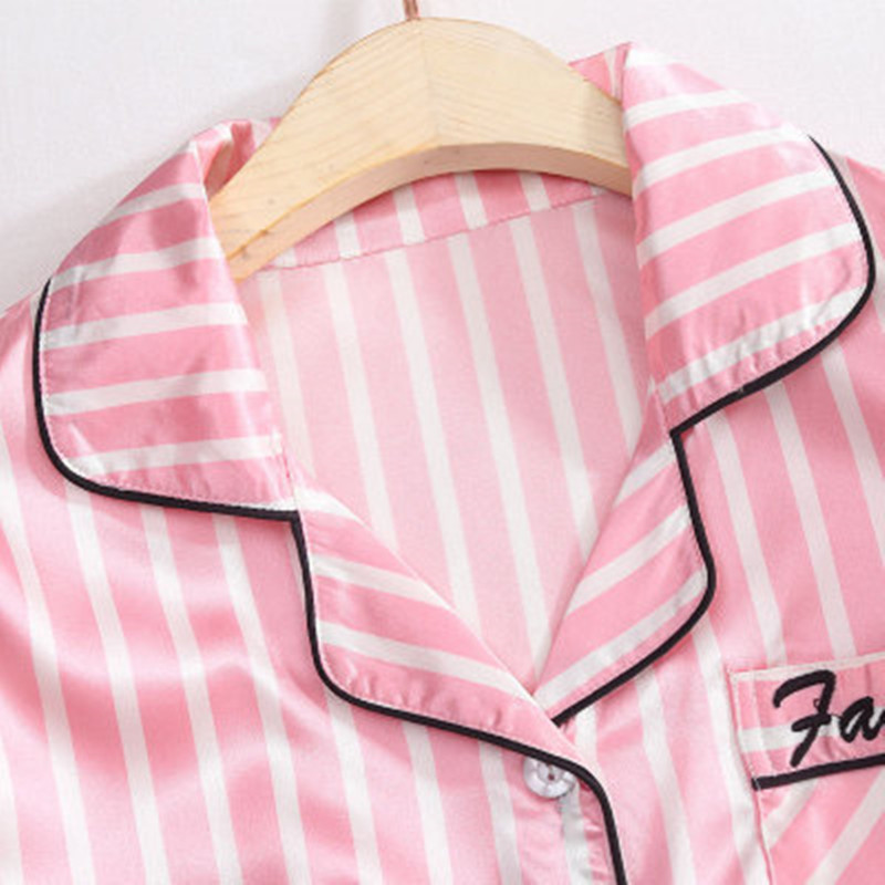 Ultimate SaleStriped Pajamas Sleepwear Robe Lingerie Satin Pjs Silk Pink Femme 7pieces-Stitch Women