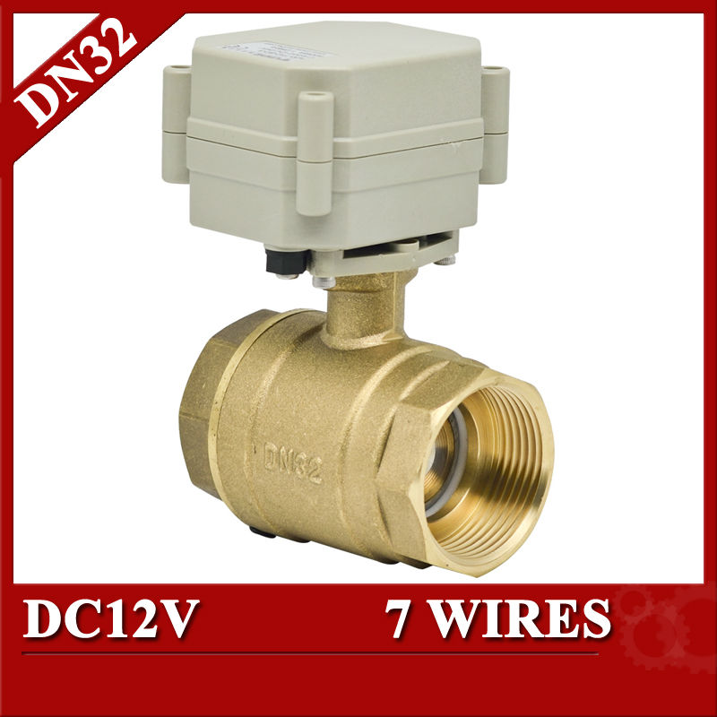 11/4 DC12V 7 wires electric water valve, DN32 Electric ball valve 2 way full bore for irrigation 26 32 4 12 7
