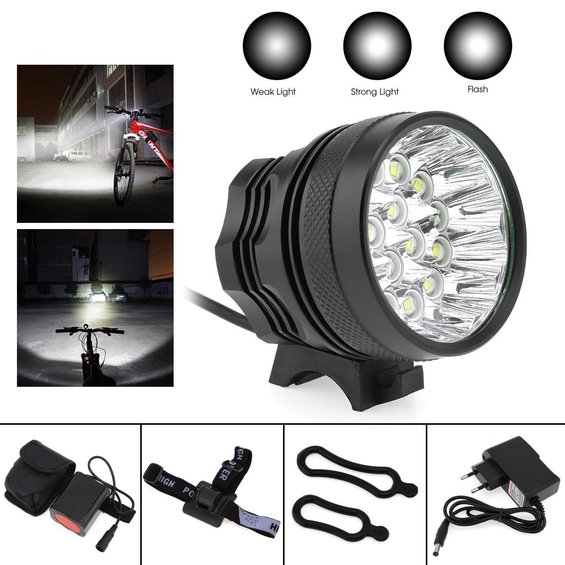 16 x XM-L T6 LED 3 modes Bicycle Lamp Bike Light Headlight Cycling Torch with 8.4V 6400mAh Battery Set zinuo 3 x cree xm l t6 led bicycle bike headlight head light lamp torch flashlight