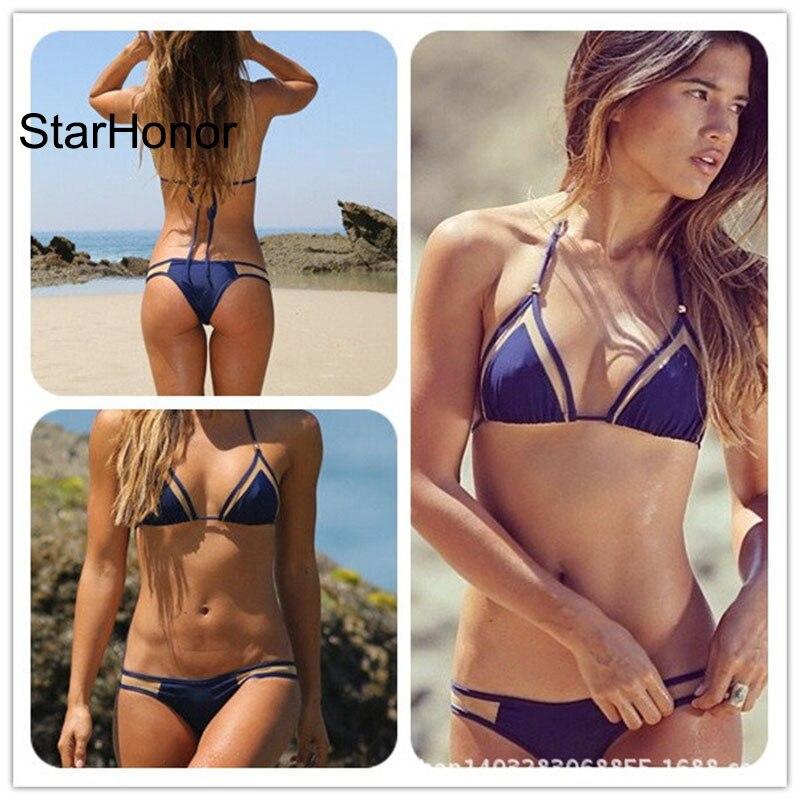 StarHonor nő Strappy szilárd Patchwork Beachwear fürdőruha kötszer Biquini Két részből álló Bikinis Set Push Up fürdőruha fürdőruha