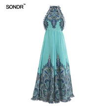 SONDR Elegant Off Shoulder Print Dress Women Sleeveless High Waist Hit Color Female Dresses Spring 2019 Sexy Fashion