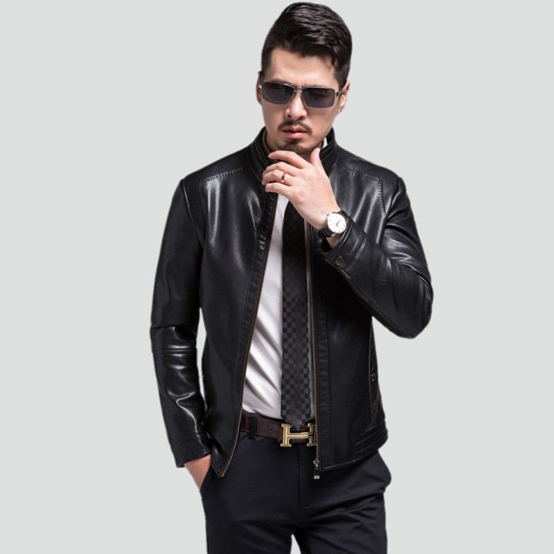 le prix reste stable offres exclusives 100% authentique € 56.73 5% de réduction|1798 nouvelle mode 2017 automne vêtements jeune  homme en cuir veste manteau court col montant loisirs en cuir veste-in  Vestes ...