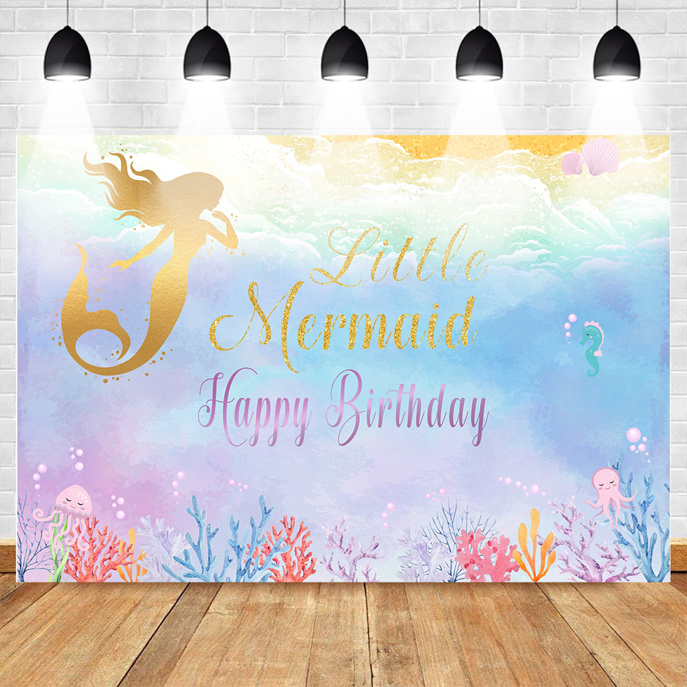 Mehofoto Golden Little Mermaid Photography Backdrop Children Happy Birthday Party Underwater Colorful Background Theme