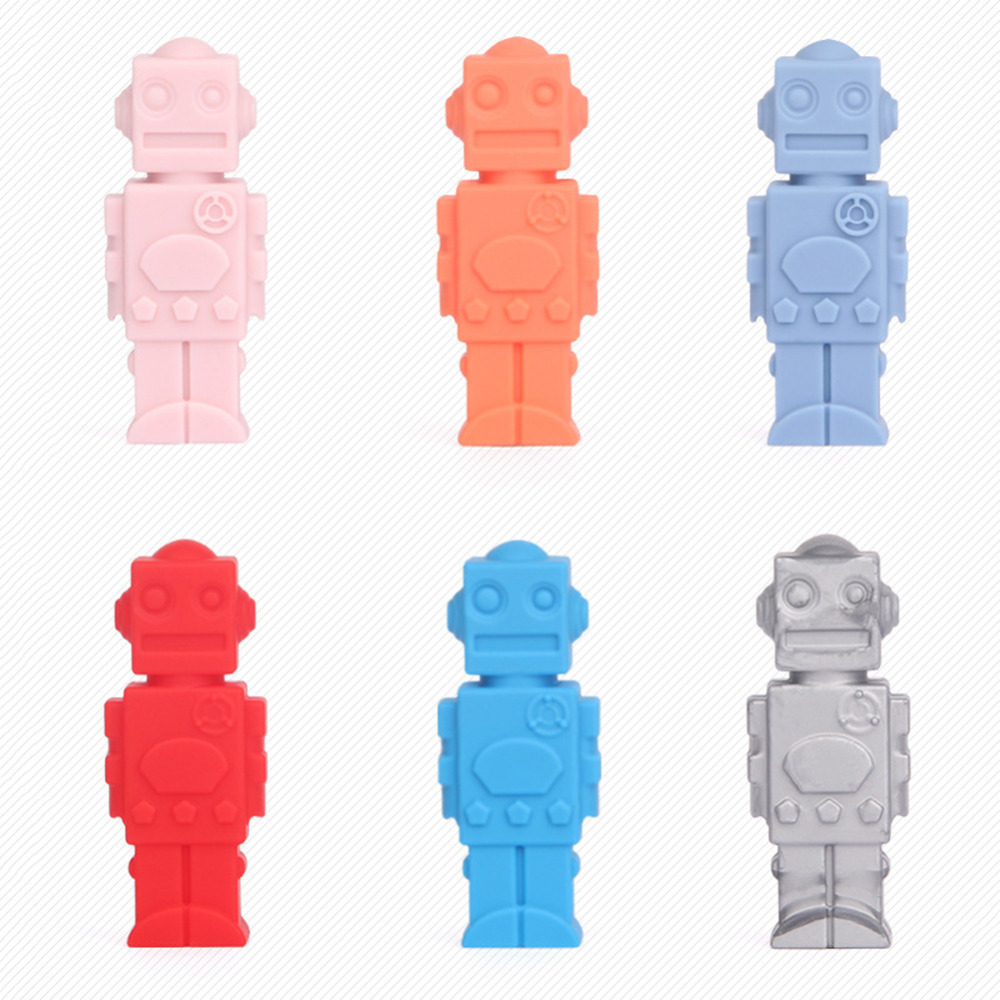 Robot Shape Baby Teether Children Pencil Pen Cap Silicone Food Grade Teethers For Children Kids Teething Toy Dental Care