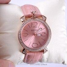 Púrpura de oro rosa mujeres de la marca de lujo completo rhinestone señoras del reloj de cuero genuino banda reloj de cuarzo reloj de las mujeres famosas