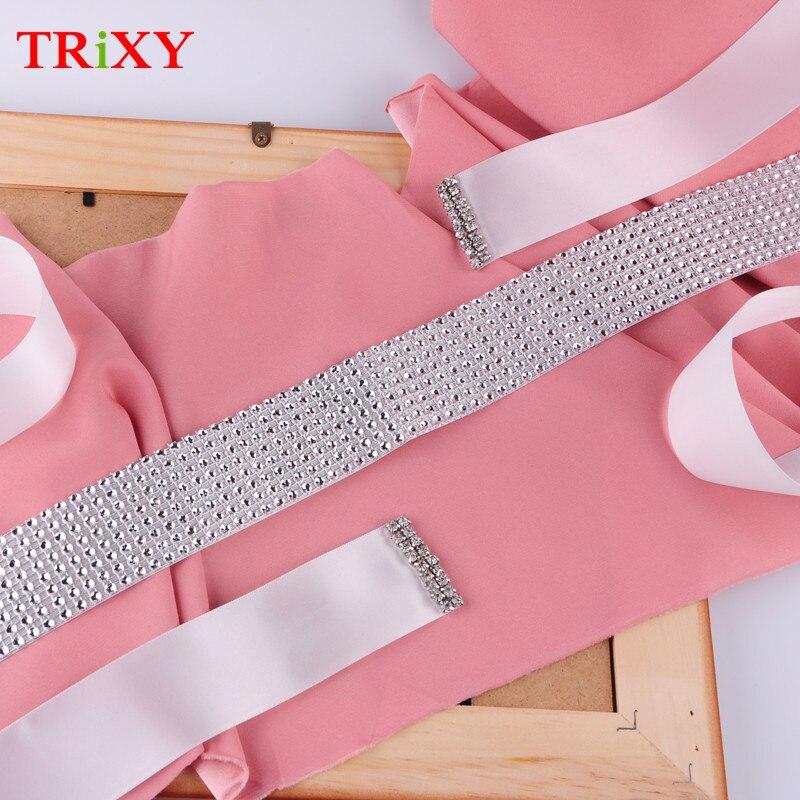 TRiXY B19-4 Handmade Beading Wedding Accessories Satin Wedding Belt Bridal Ribbon Sash Belt For Evening Party Gown Dresses