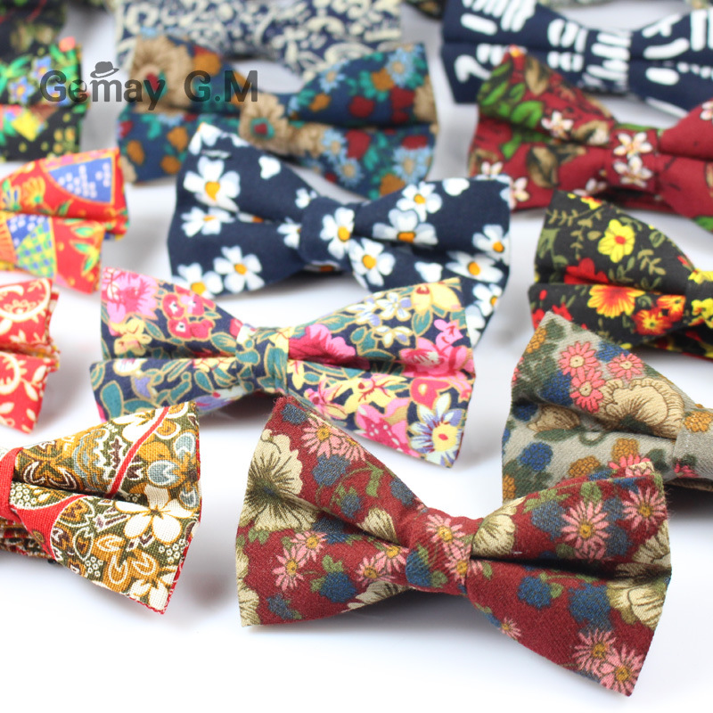 British Style Vintage Flower Printing Bow Tie Bridegroom Wedding Gravata Slim Floral Skinny Bowtie Cravat Party Bowtie