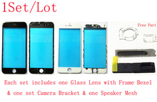 (109IP6G01AM)(1Set/Lot)100% Top Quality for iPhone 6G / 6 Plus Glass Lens W/ Frame Bezel+Camera Bracket+Speaker Mesh
