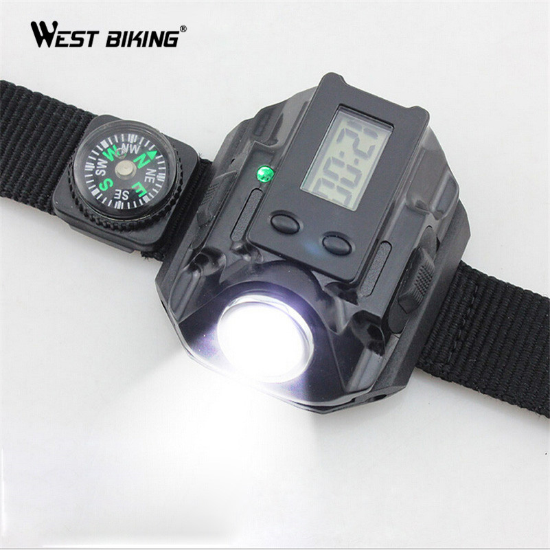 Westing Biking USB Rechargeable LED Wrist Light Waterproof Tactical Flashlight LED Wrist Watch Black Silver Cycling Light tactical led wrist watch flashlight torch light usb rechargeable outdoor camping