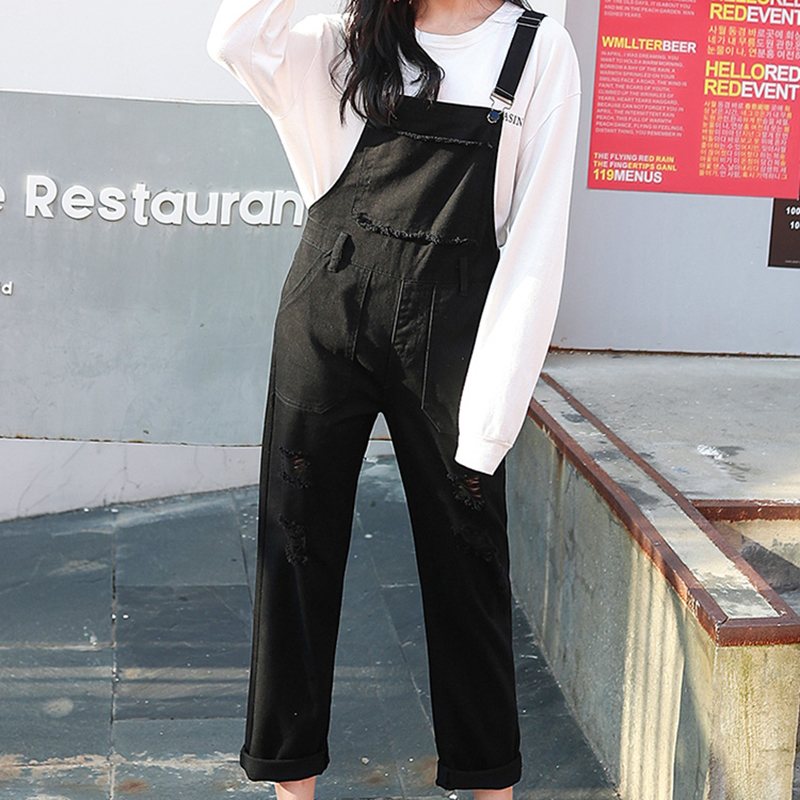 Denim Jumpsuit Women Solid Hole Jeans Jumpsuit Rompers Women Korean Fashion Suspender Monos Largos Mujer Pantalon Largo Overalls 10