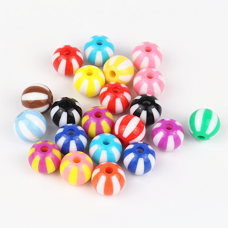Pick Size 12MM 16MM 20MM Acrylic Striation Bubblegum Beads Mixed - Fashion Jewelry