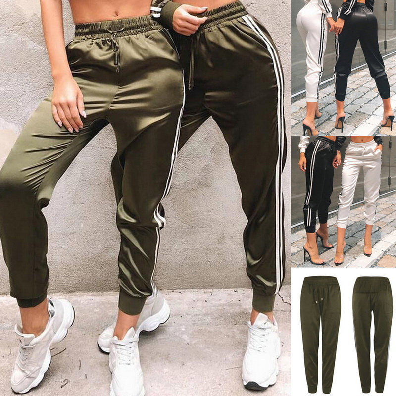 Vertvie New Women Sport Running Pants Striped Loose Yoga Trousers Exercise Fitness Jogging Workout Pants Outdoor Casual Pocket