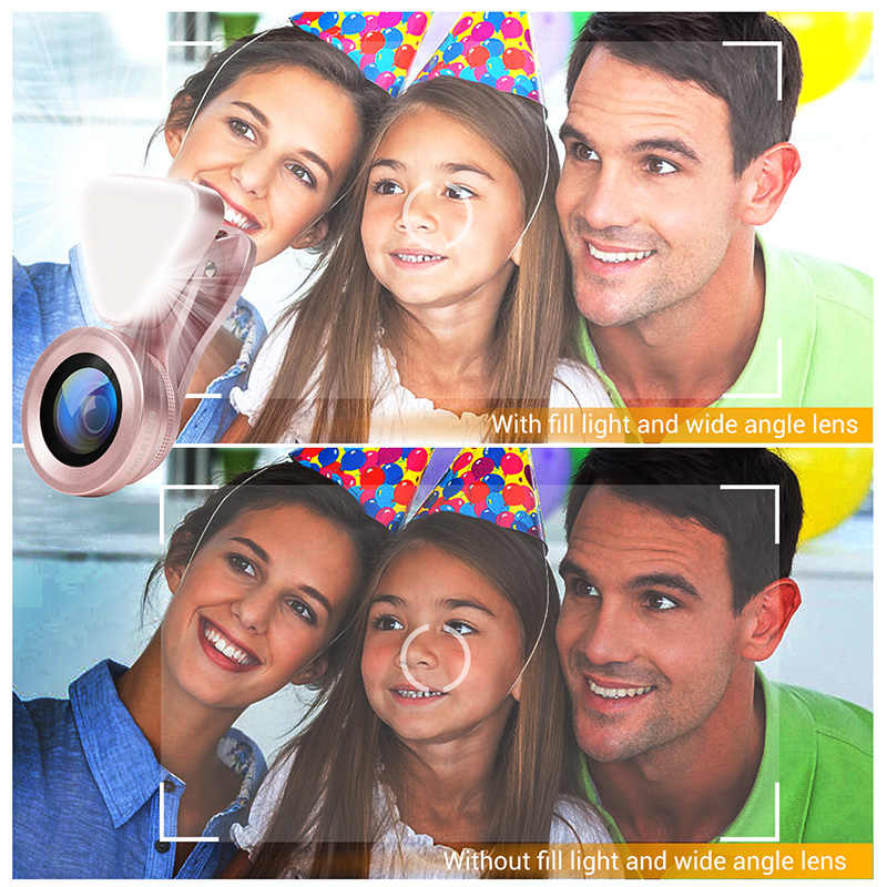 TURATA LED Selfie Flash Light Beauty Phone Lens Fill Light Wide Angle+10X Micro Lens for Smartphone iPhone 7 6S Samsung Xiaomi