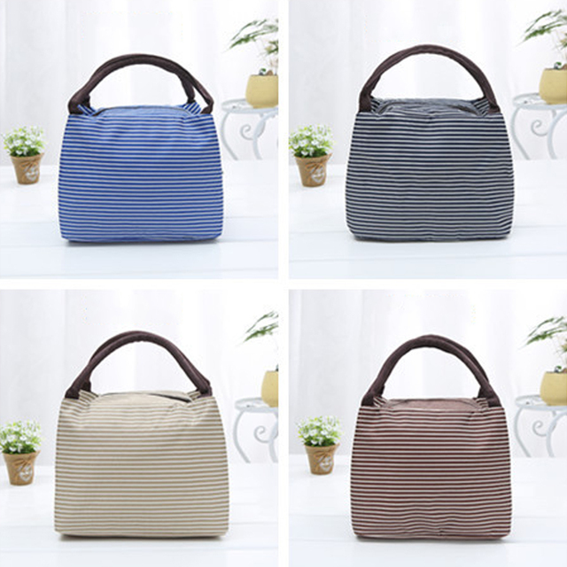 Hot Outdoor Camping Stripe Thermal Insulation Bags Travel Picnic Bag Camping Coolers Bag Portable Lunch Box Bag for Women