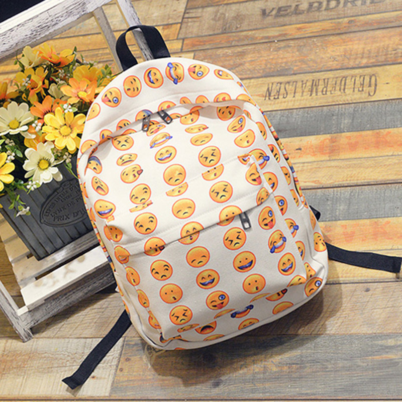 Women Backpacks Smiley Emoji School-Bag Canvas And Anime Сумка