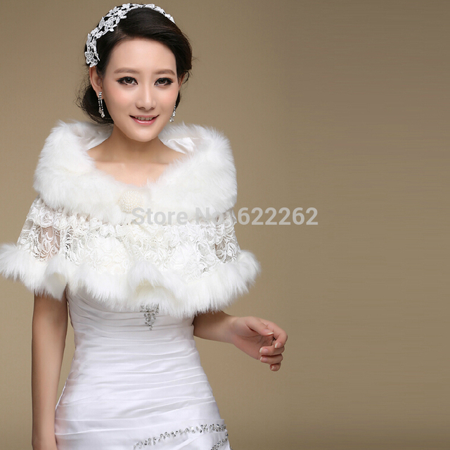 Lace Applique Fur The Bride Wedding Dress Shawl Warm White Winter Bridesmaid With Thick Wool Shawls Bridal