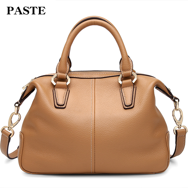 2017 Original Designer Famous Brand Women Boston Bag Classic Shell Shape Female Handbag Real Leather Shoulder Bag Soft Tote Bag leftside fashionable 2017 women tassel designer rivet boston bag female handbag woman hand bags shoulder bag with wide strap