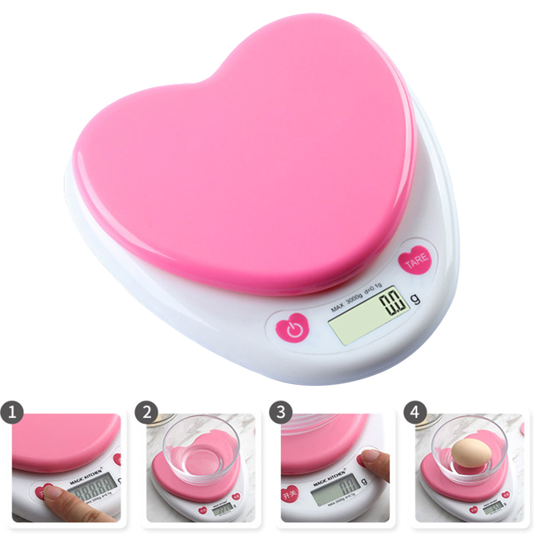 Household Pink 5Kg 1G Kitchen Scale LED Glass Baking Scale Tea Herbs font b Electronic b