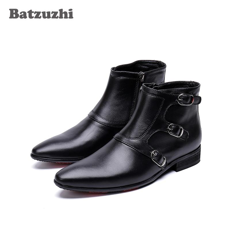 Für Ankle Zapatos Echtes Schwarzes De Handgemachte Batzuzhi Leder Herbst Schwarz Spitz Winter Männer Boot Stiefel Hombre I7wwnPxqz