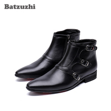 Batzuzhi Handmade Boots Men Black Genuine Leather Men Boots Pointed Toe Black Autumn Winter Ankle Boot for Men zapatos de hombre mycolen brand quality genuine leather winter boots comfortable black men shoes men casual handmade round toe zip wear boots