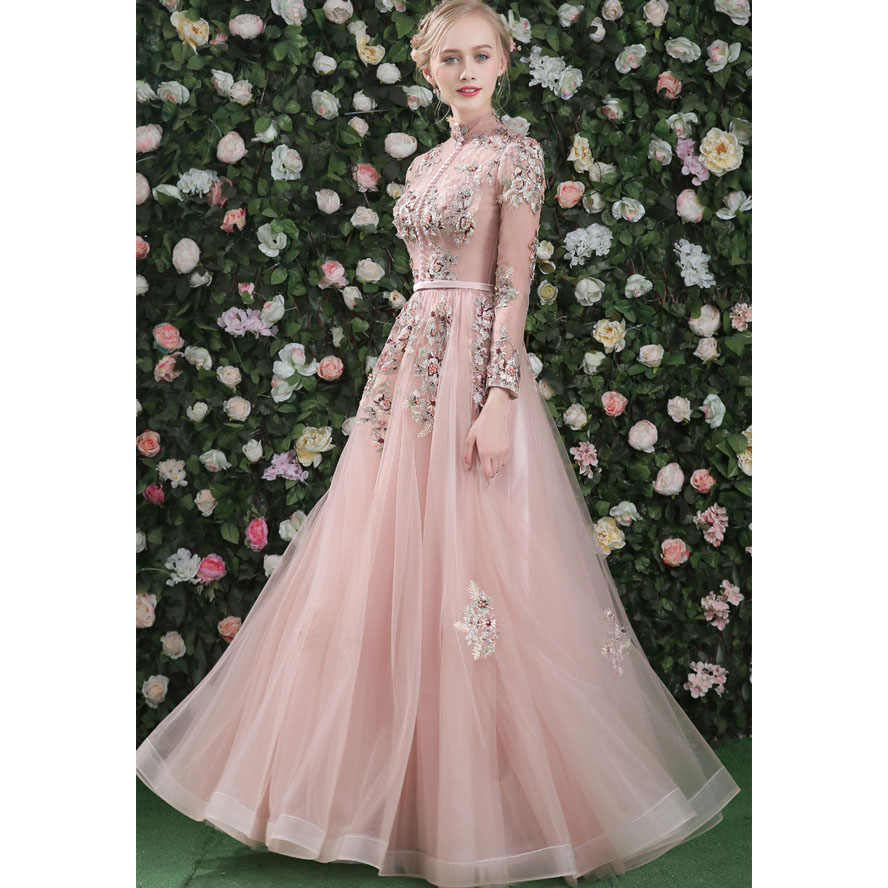 d6cea6daec585 Stand Collar Embroidered Long Evening Gowns Align Ground Length ...