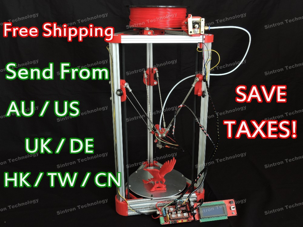 [SINTRON] NEW 3D Printer Kossel Mini Full Kit w/ Auto Level For RepRap Rostock Delta,LCD 2004 Controller,Fress Shipping large buid size newest kossel k280 delta 3d printer 24v 400w power with auto level and heat bed two rolls of filament gift