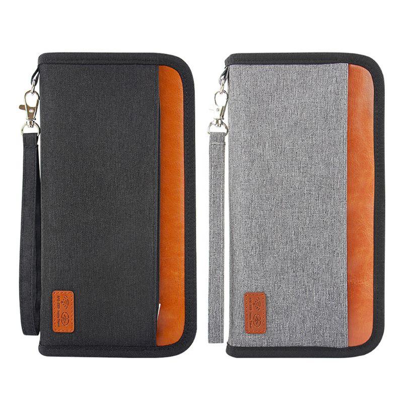 Portátil RFID Bloqueando Carteira Bolsa Saco de Viagem Organizador Bolsa Zipado Bilhetes Passaporte ID Titular