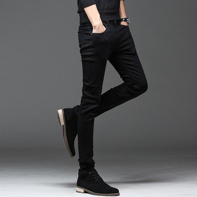 Casual Slim elastic black jeans 2
