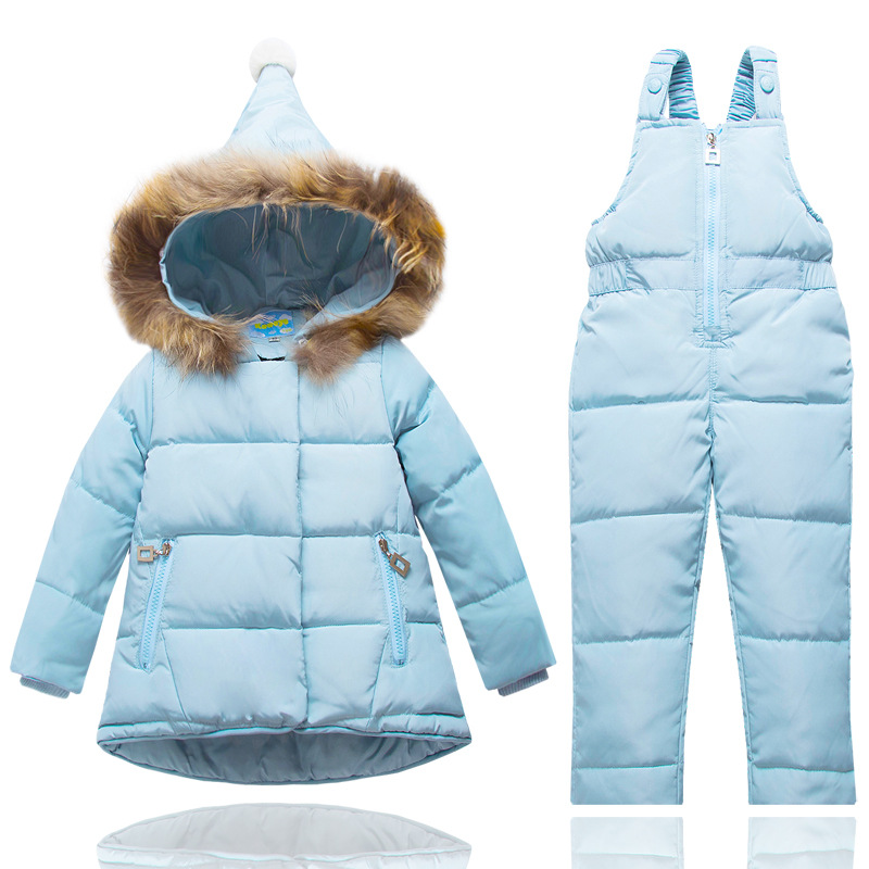 kids ski suit jacket +pants winter warmest skiing bibs for ...