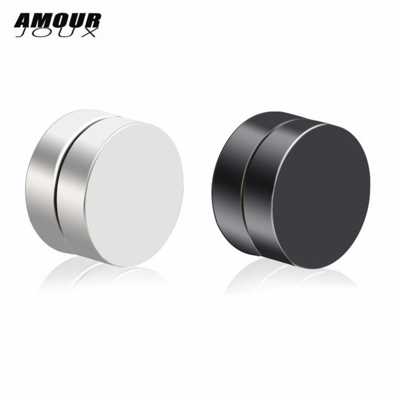 AMOURJOUX 8mm Magnet 316L Stainless Steel Earrings Double Sided Round Stud Earrings For Men Women Barbell Black Earrings