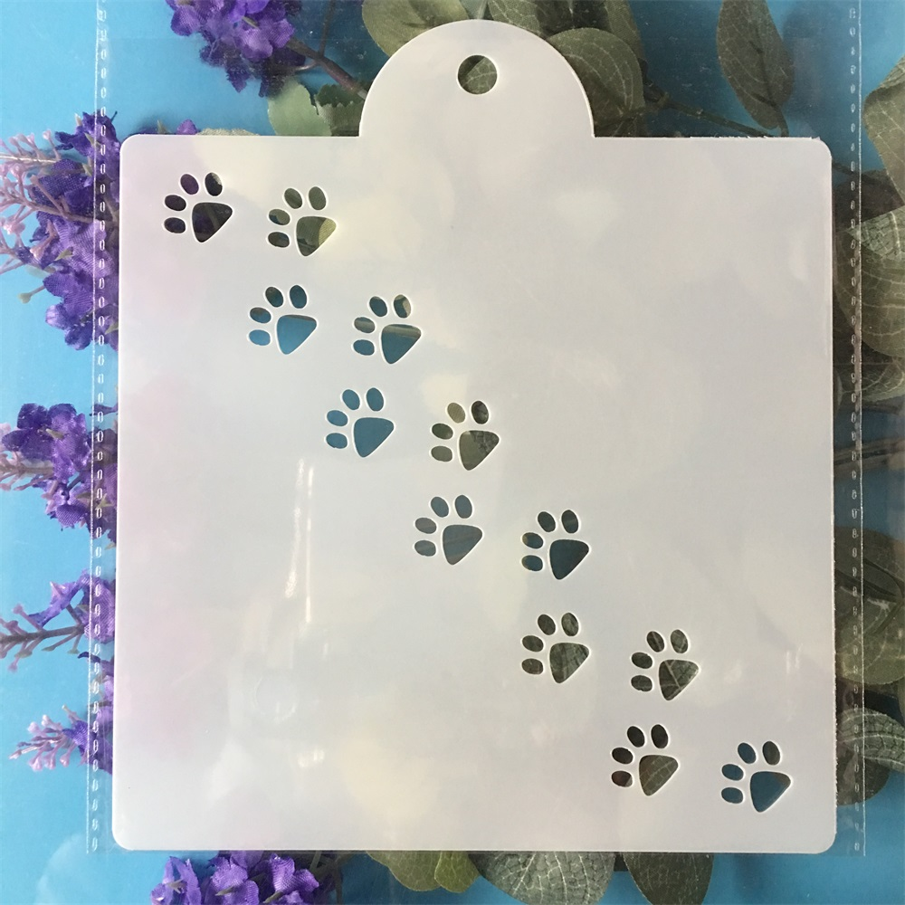 15cm Cat Dog Paw DIY Layering Stencils Painting Scrapbook Coloring Embossing Album Decorative Template