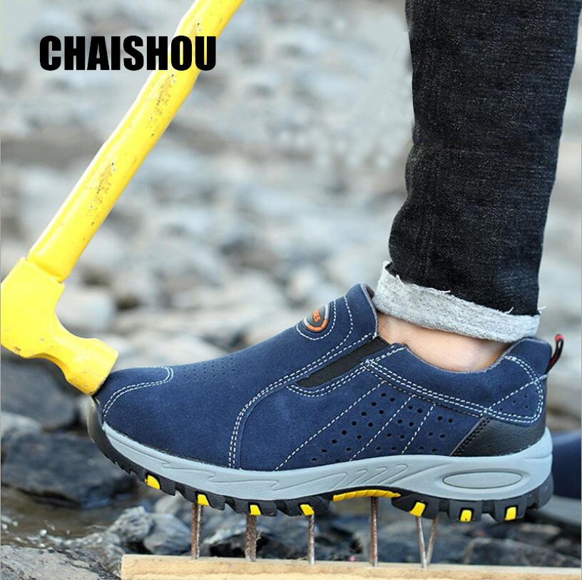 CHAISHOU  men woman work Shoes Cow suede Anti-smashing anti-piercing  Steel Toe platform security boots male CS-145