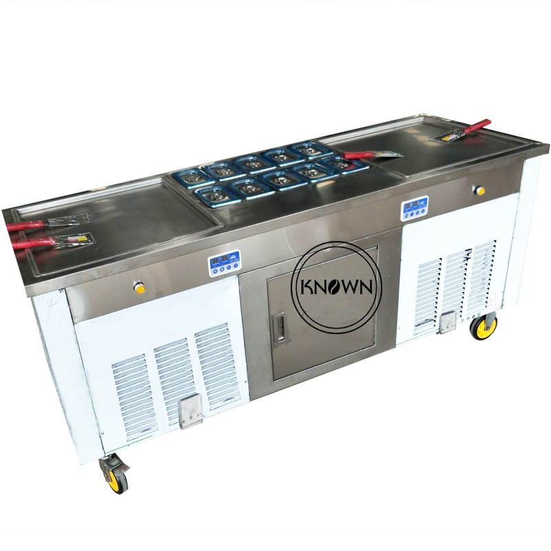Fresh-keeping Refrigerator Best Selling Commercial 2+10 Square Plate Fried Ice Cream Machine With Glass Board CFR Price
