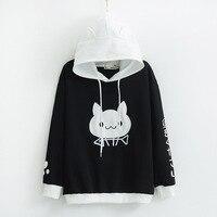 Hooded Sweatshirts Women Spring Cute Cat Pattern Printed Long Sleeve Pullovers Sweatshirts Girls Casual Hoodies Japan Style 2018
