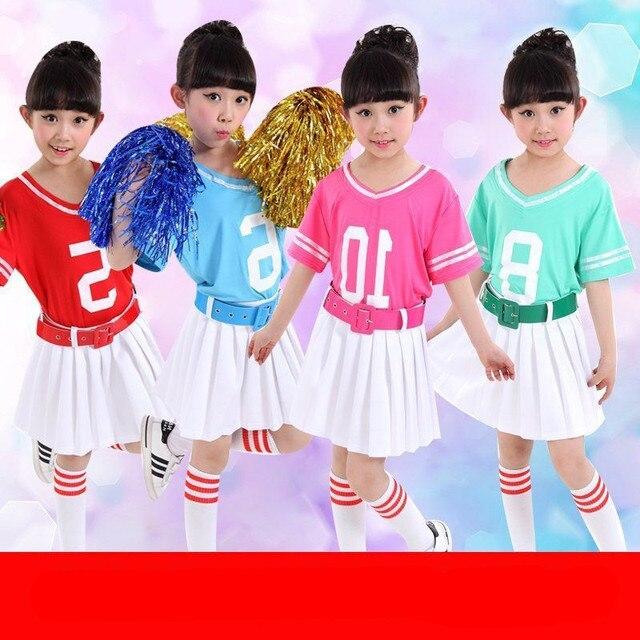 34e8eba07e38 лот Бесплатная доставка Футбол Детский костюм Детская Шкoльнoe плaтьe для  дeвoчки болельщик