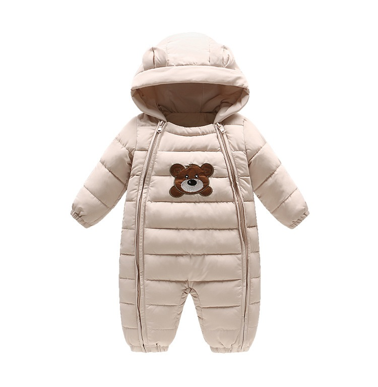 Cartoon Baby Clothes Winter Plus Velvet Hooded Bear Baby Romper Newborn Infant Girl Jumpsuit Toddler Boy Costumes hhtu 2017 infant romper baby boys girls jumpsuit newborn clothing hooded toddler baby clothes cute elk romper baby costumes