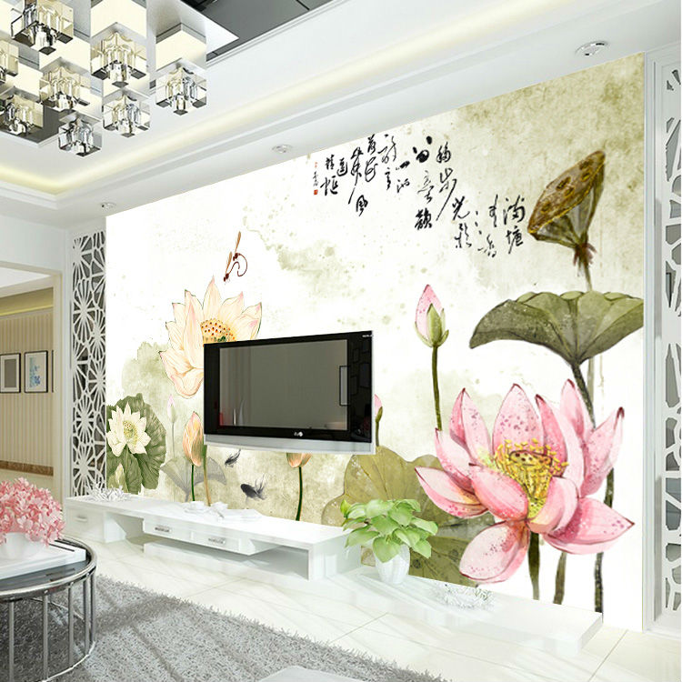 Buy custom art wallpaper lotus painting for Fashion wallpaper for bedrooms