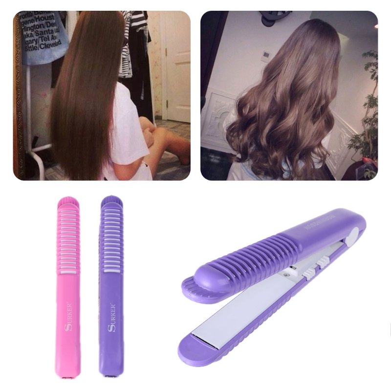 SURKER 2-in-1 Curling Straightening Irons Mini Portable Travel Ceramic Plate Flat Cordless Hair Straightener Curler Styler недорого