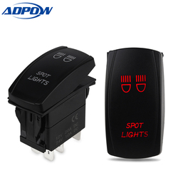 ADPOW 12V SPST ON-OFF 5 Pin Rocker Switch Waterproof LED Light Bar Toggle Rocker Switch For Car Boat Marine Vehicles