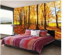 094a971496 Na zamówienie dowolny rozmiar piękne złoty słońca jesień las 3d  stereoskopowe tapety mural fototapeta