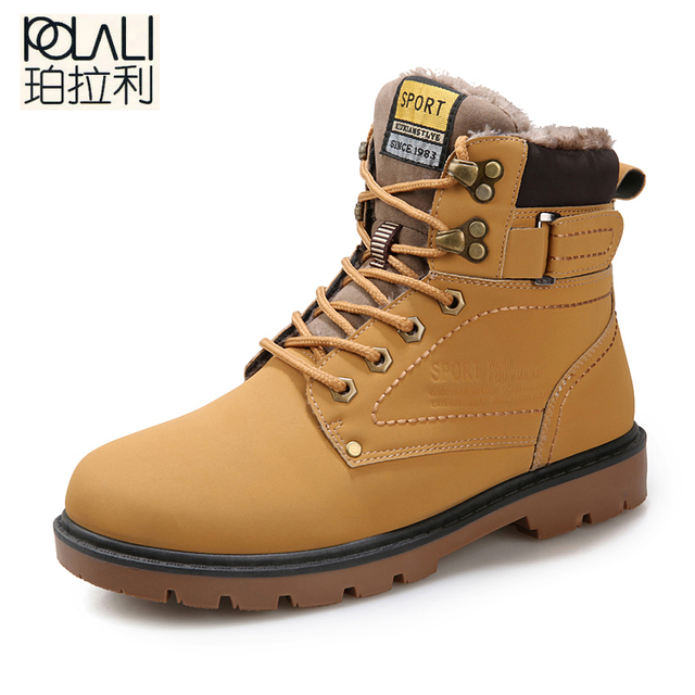 0ceca644556d POLALI 2018 Winter Fur Warm Male Boots For Men Casual Shoes Work Adult  Quality Walking Rubber Brand Safety Footwear Sneakers-in Work & Safety  Boots ...