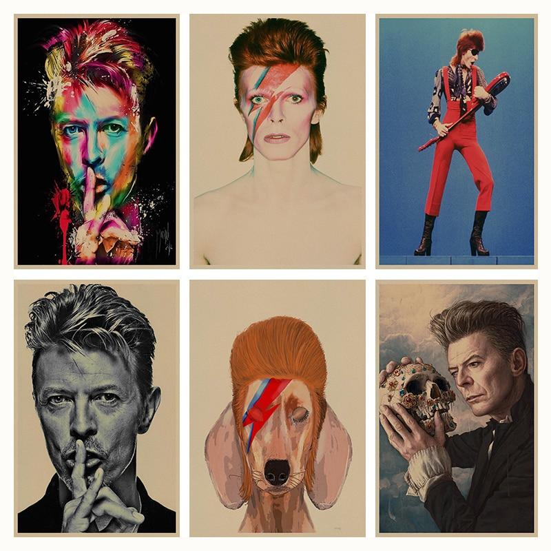 David Bowie retro Poster Retro Kraft Paper Bar Cafe Home Decor Painting Wall Sticker
