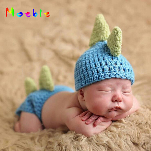 0e418314faf2a US $2.24 41% OFF Cute Dinosaur Baby Boys Crochet Photo Props Animal Costume  Knitted Infant Baby Coming Home Outfits Newborn Photography Props-in Hats  ...