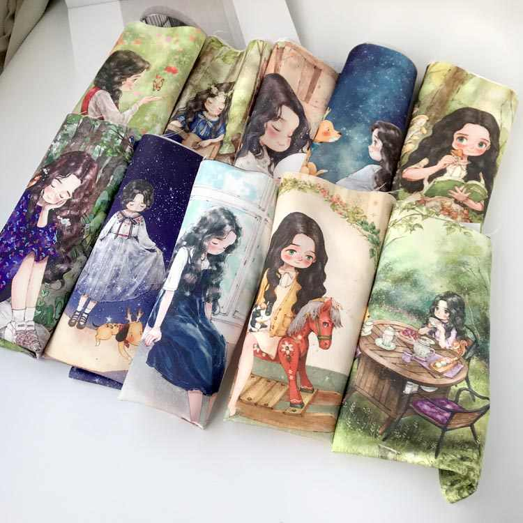 29*50cm Imitation silk fabric cloth sewing patterns painting