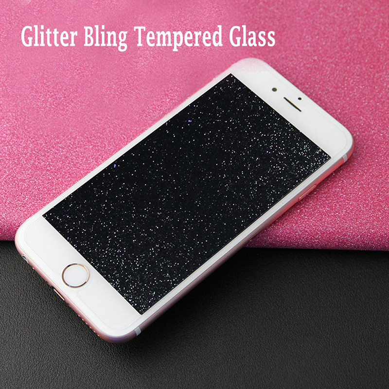 Tempered Glass Screen Protector For IPhone 7 6 6s 5 Se 8 Plus X XS MAX XR Glass Protective 9H Rhinestone Diamond Glitter Shiny