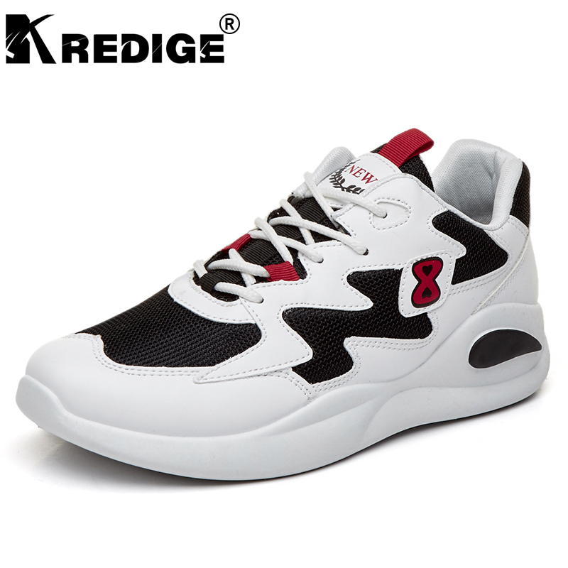 KREDIGE New Arrival Letter Air Mesh Casual Shoes Mens Height Increasing Soles Low Shoes Hard-Wearing Anti-Odor Male Shoes 39-44