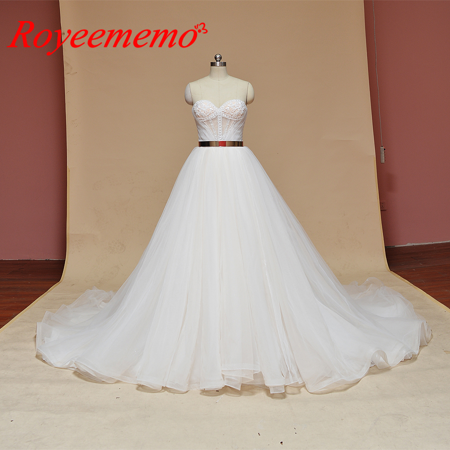 2019 new design Wedding Dress A line skirt Bridal gown custom made wedding gown factory directly