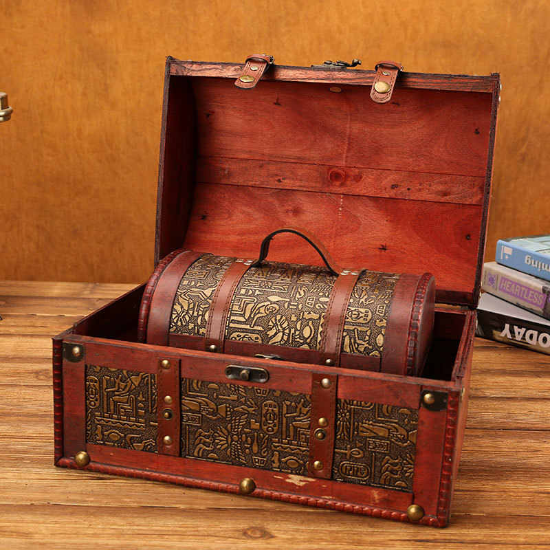 คลาสสิกกล่องไม้ล็อคยุโรป Retro Creative Storage กล่องโบราณ Treasure Chest เครื่องประดับในครัวเรือน VINTAGE Home Decor ของขวัญ